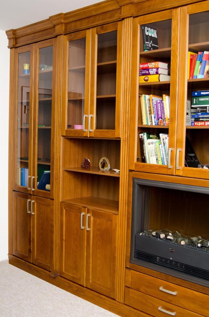 Knihovna s integrovaným krbem